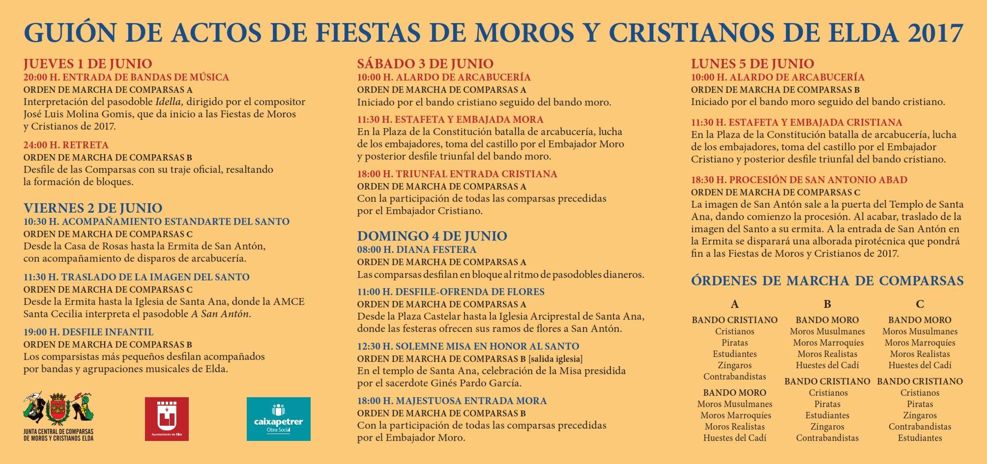 Guión De Actos De Fiestas De Moros Y Cristianos De Elda 2017 No