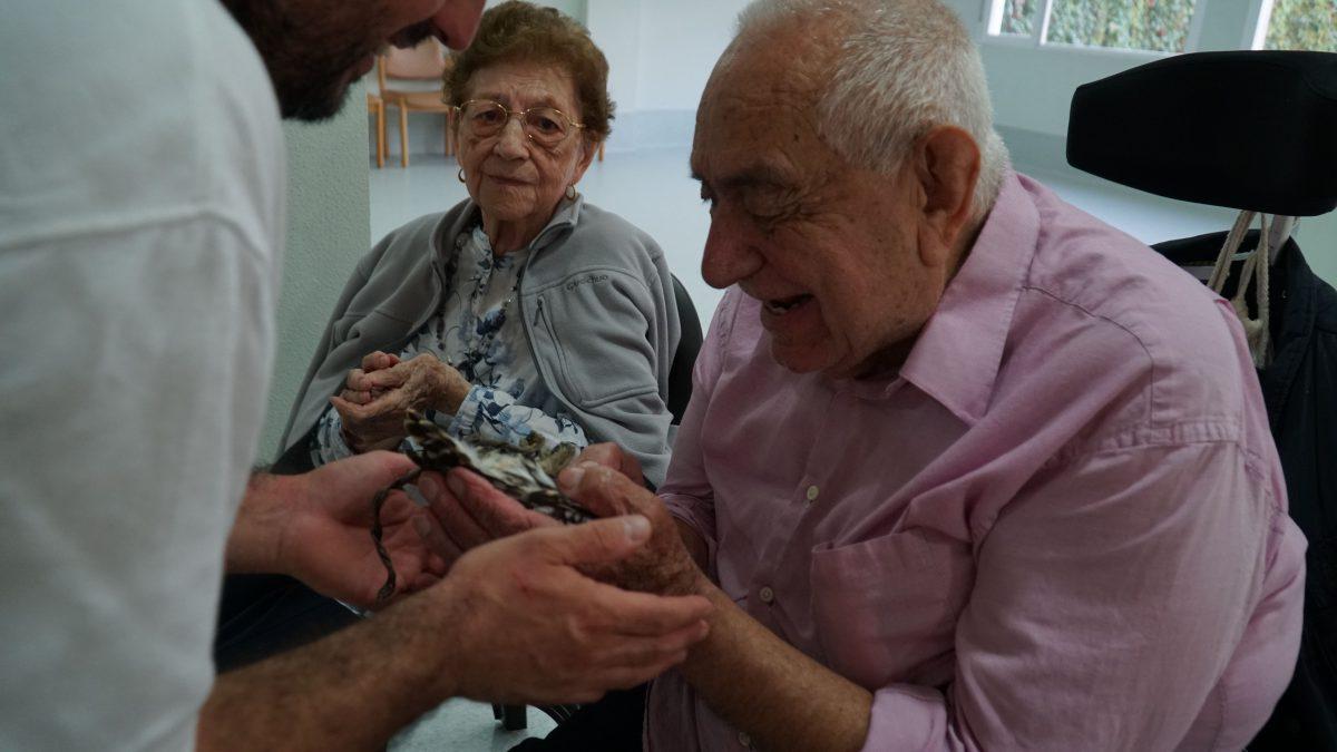 Juan F. Martínez durante la sesión con aves rapaces - La Molineta