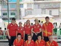 Ana Rosa, segunda final, primera de la derecha.