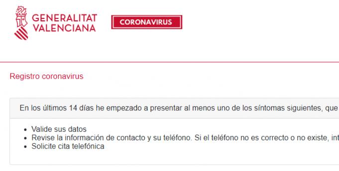 Registro Coronavirus Comunitat Valenciana
