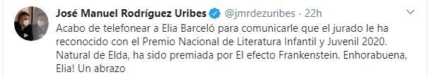 Felicitación de José Manuel Rodríguez Uribes