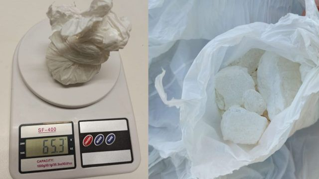 Bolsa con 65 gramos de cocaína