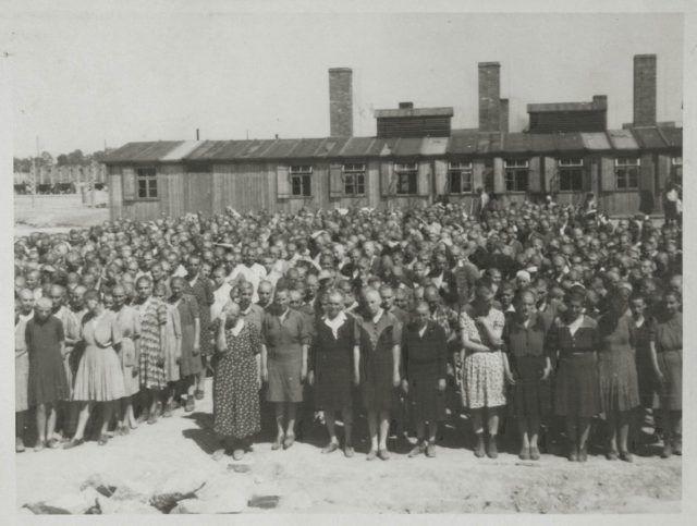 Concentración de prisioneras enfrente de las cocinas en Auschwitz -Wikipedia
