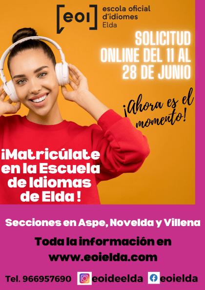 La Escuela Oficial de Idiomas de Elda abre el periodo de matriculación online
