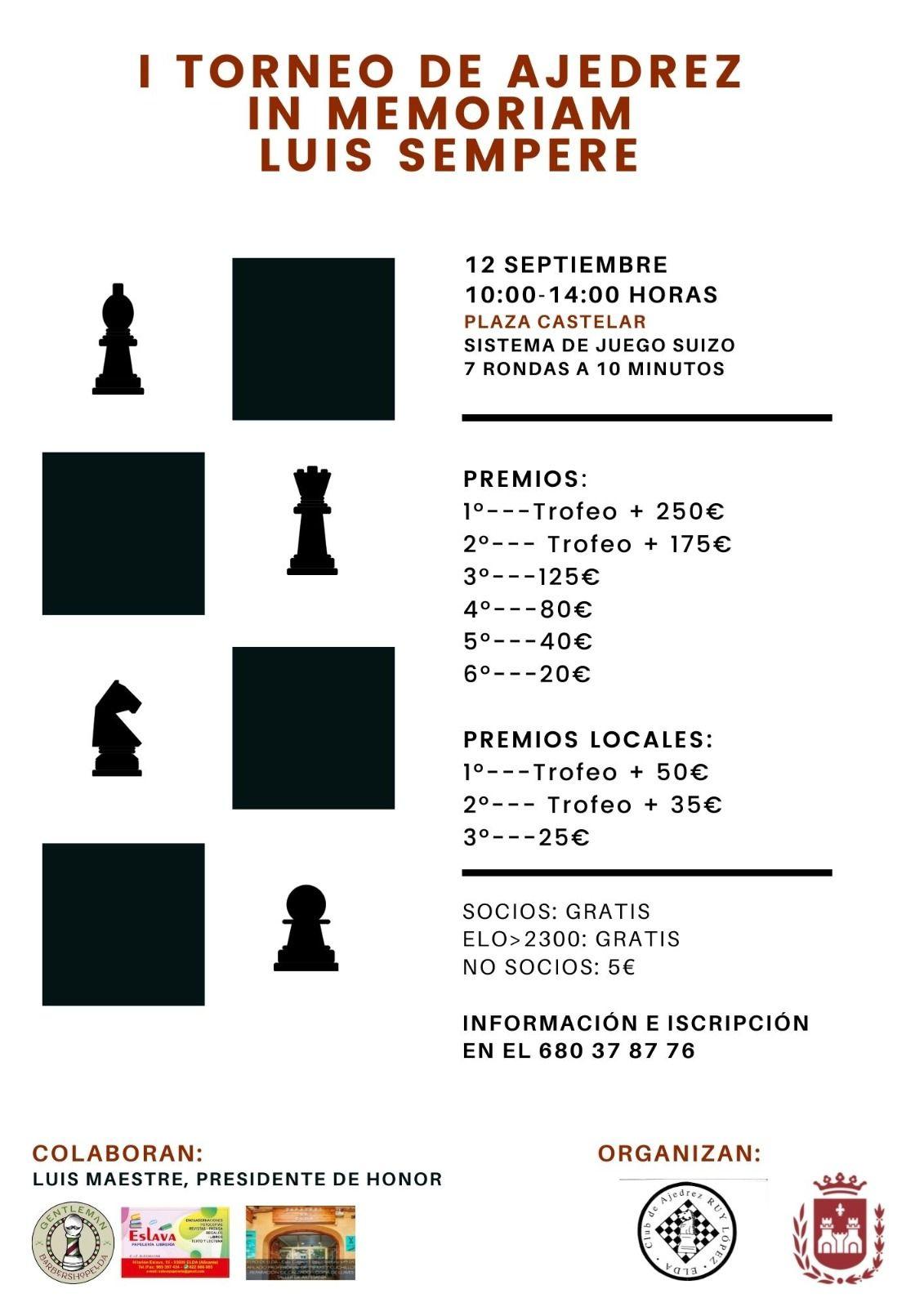 "I Torneo de Ajedrez ""In memoriam Luís Sempere"" Elda"
